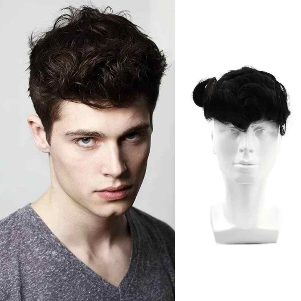 Pelucas para hombre Neitsi de encaje suizo + PU, pelucas de cabello humano Remy virgen de densidad 150%, peluca negra Natural para hombres