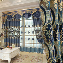 Thickened Chenille Curtains for  Living Room Hollowed Embroidered Curtains European Window Curtains for Bedroom Valance