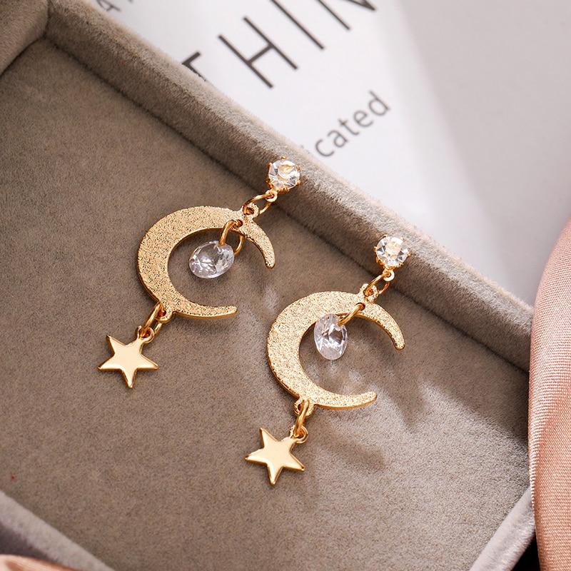 Metal Geometry Women Earrings Stars Moon Drop Earrings For Women Bohemian Sweet 2020 New Jewelry Accessories Gift