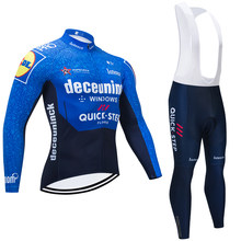 QUICKSTEP TEAM-Camiseta larga de Ciclismo para hombre, conjunto de pantalones térmicos de lana para Ciclismo, Maillot, Culotte, Invierno 2021
