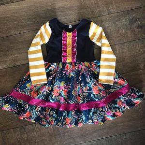 Image 2 - لطيف الفتيات فستان بكم طويل الأزهار تصميم فستان كبير بلون مشرق