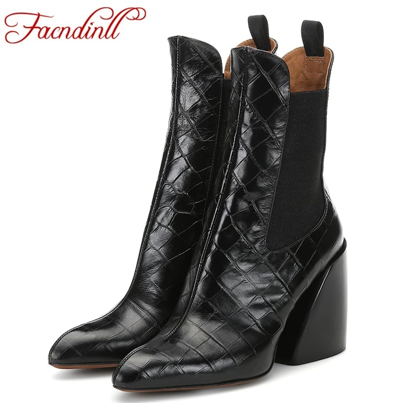 FACNDINLL fashion women ankle boots autumn winter warm shoes high qulaity sexy high heels shoes woman dress party brand boots