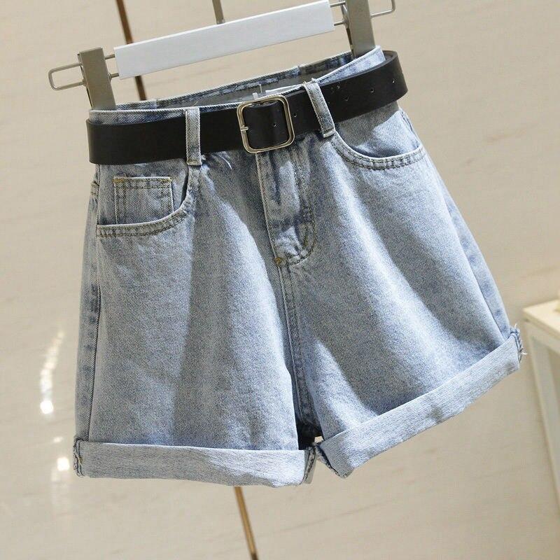 Vintage Loose Women Denim Shorts Korean Style Crimping High Waist Wide Leg Short Jeans with belt Female W52