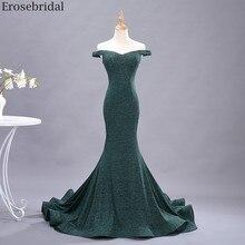 Erosebridal 2020 새로운 패션 인 어 공주 댄스 파티 드레스 긴 유연한 패브릭 어깨 이브닝 드레스 긴 간단한 스타일 지퍼 뒤로
