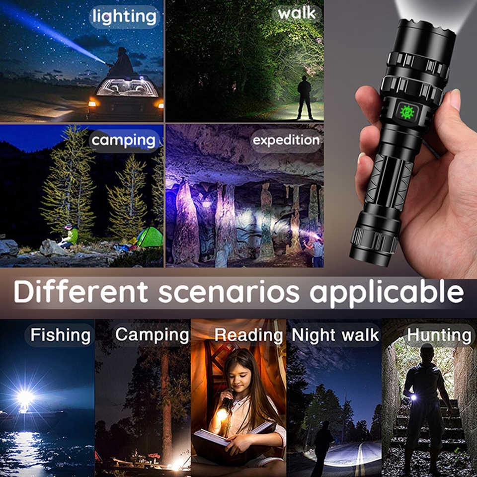 Yunmai 65000 Lumens powerful Tactical Flashlight LED light Rechargeable Waterproof Scout Torch Hunting light 5 Modes by 1*18650