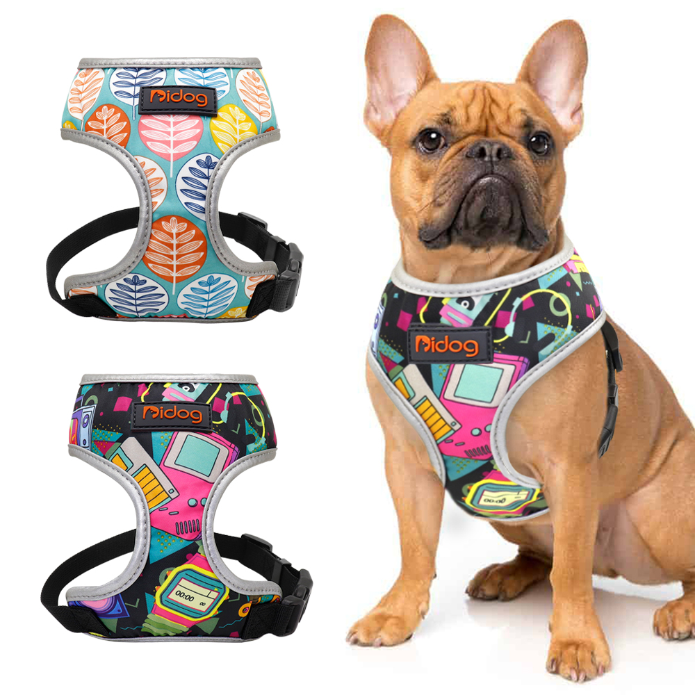 Nylon Hond Kat Harnas Gedrukt Franse Bulldog Harness Puppy Kleine Honden Harnassen Vest voor Chihuahua Yorkshire Walking Training