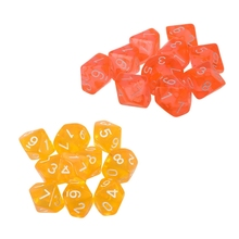 20 Pcs Dices D10 Ten Sided Gem Dice Die for RPG Dungeons&Dragons Board Table Games, 10 Transparent Orange & Transpare