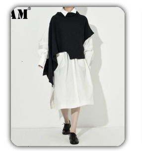 [EAM] 2019 New Spring Black Full Batwing Sleeve Turtleneck Collar Pullover Loose Irregular Women Fashion Tide Coat OA869
