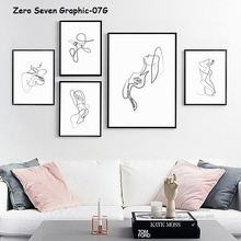 Abstract Painting One Line Art Sexy Girl Canvas Painting Poster And Print Living Room Salon Wall Art Picture For Home Decoration