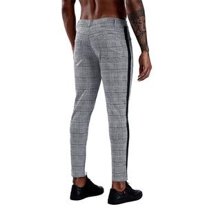 Image 3 - Pantalon slim à carreaux pour hommes, Streetwear à la mode, survêtement pour hommes, jogging serré, collection 2020