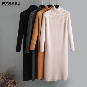oversize thick long Coarse wool turtleneck sweater dress women autumn winter female casual loose knit straight sweater dress(China)