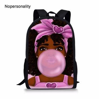 Cartoon Black African American Girl Boys Print School Bag Kids Cute Book Bags Teenager Girls Schoolbag Backpack Mochila Escolar