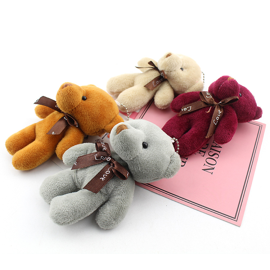 New Plush Doll Teddy Bear Metal Keychain Children Kids Bag Pendant Women Car Key Hanging Pendant Soft High Quality Stuffed Toys