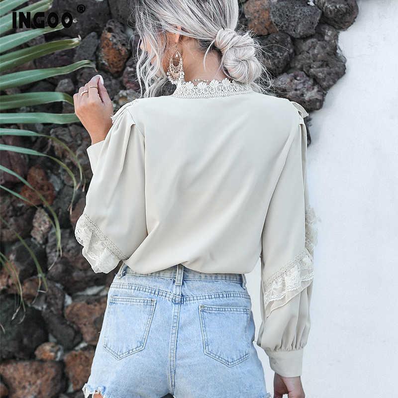 INGOO أنيقة فانوس كم طويل الشيفون قميص المرأة الربيع عادية الدانتيل السيدات بلايز Vintage زر الأبيض المشمش الكشكشة بلوزة