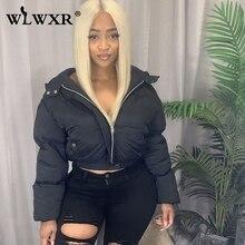 Jackets Parkas Puffer-Coat Cropped Long-Sleeve Black Winter Women Short Hooded Streetwear