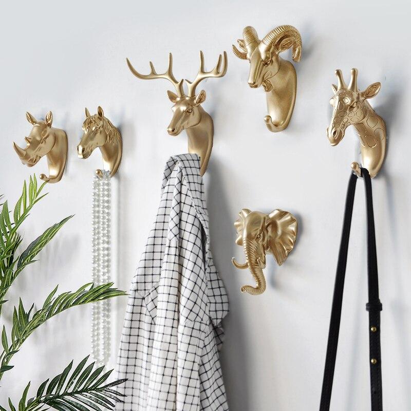 Nordic Hause Dekoration Haken Goldene Deer Kopf Lagerung Organizer Tier Key-Rack Wand Regal Multifunktionale Kreative Kleiderbügel