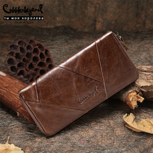 Cobbler Legend 2019 New Retro Womens Wallets For Lady Genuine Leather Zipper Wallet For girls Long Coin Card Purses  For Woman