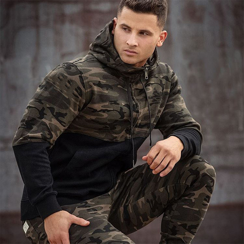 Men's 2 Piece Hooded Sportswear Set Spring Autumn New Men's Loose Camouflage Zipper Sweatshirt + Sweatpants Outdoor Tracksuit
