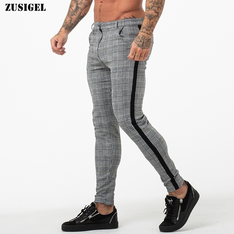 ZUSIGEL New EU Patchwork Skinny Pencil Pants Men High-Elasticity Button Plaid Pants Men Middle Waist Casual Mens Jogger Pants