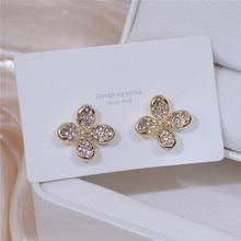 Модный горячий распродажа 14K настоящее золото изысканный темперамент цветы гвоздики серьги для женщин кубический циркон ZC мода серьги