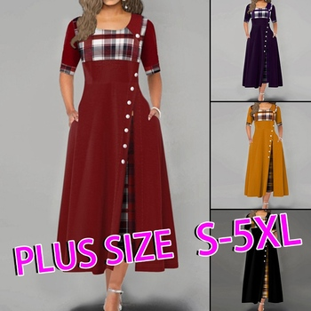 Summer Maxi Dress For Women Casual Plaid Print Button Half Sleeve Round Neck Plus Size Elegant Dresses Long Vestidos For Female casual long sleeve geometric print plus size dress for women