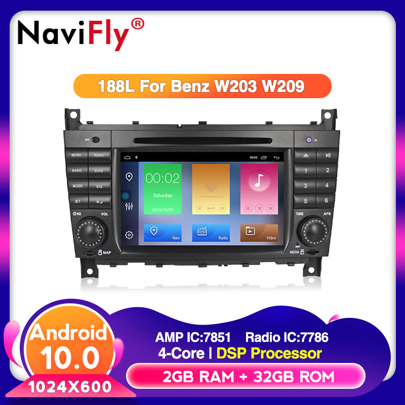 Navifly Android 10.0 RDS DVR DAB+ Car DVD multimedia player for Mercedes W203 android <font><b>C200</b></font> C230 C240 C320 C350 CLK W209 image