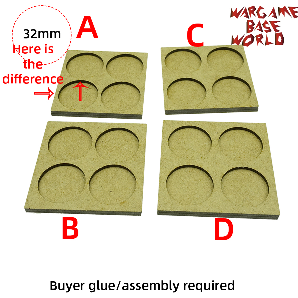 Wargame <font><b>Base</b></font> World - Movement Tray - 4 <font><b>round</b></font> <font><b>32mm</b></font> - 2 sets image
