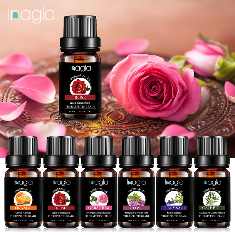 Inagla Rose Essential Oil Pure Natural 10ML Pure Essential Oils Aromatherapy Diffusers Oil Emotional Balance Air Fresh