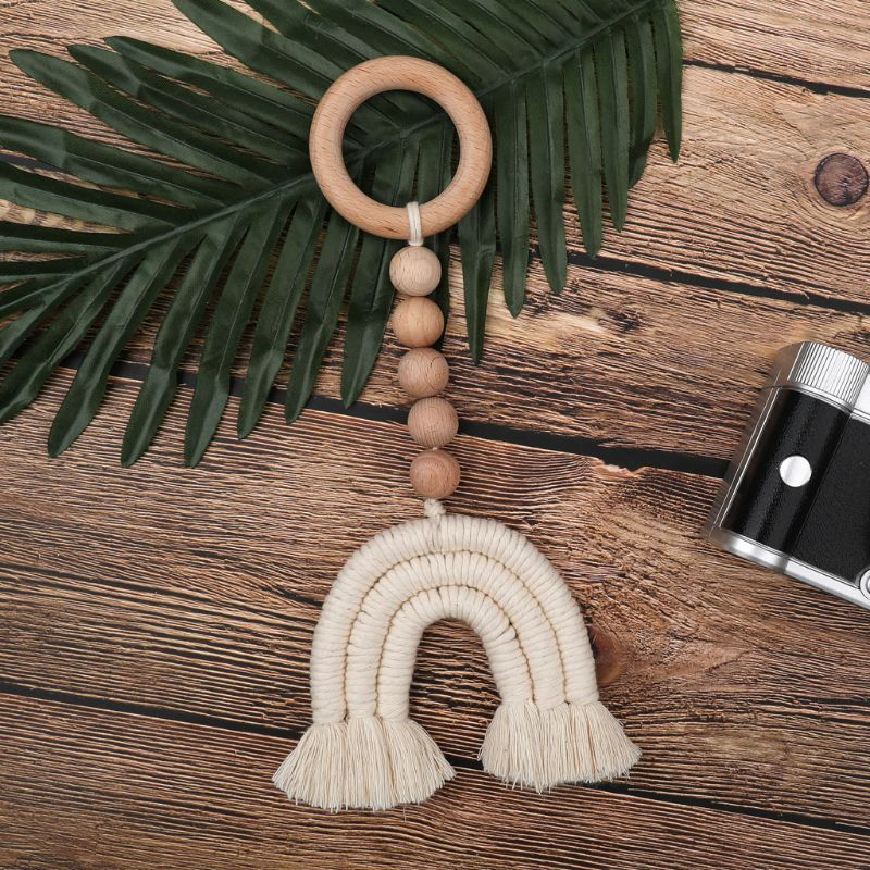 Baby Wooden Teether Natural Wood Rattle Chewable Play Gym Stroller Toy Nursing Pendant Charms Teething Toys