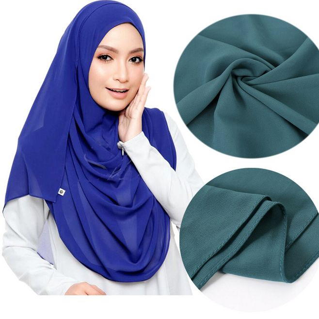1pc Premium Malaysian Hijab Plain Bubble Chiffon Muslim Scarves Women Solid Turban Shawl Fashion Wrap Headband 180x75cm