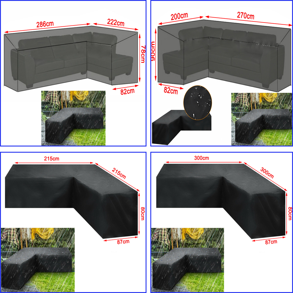 Waterproof L Shape Furniture Cover Outdoor Garden Patio Rattan Sofa  Dustproof  V Shaped Mold Resistant Cover