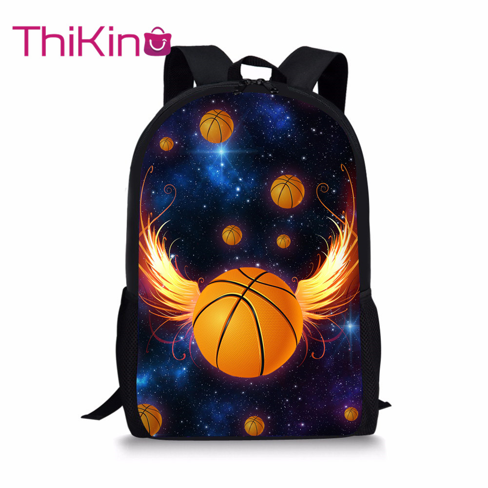 Thikin School Bags for Boys Galaxy Basketball Backpack Kids Supplies Student Shoulder Bag Children Mochila