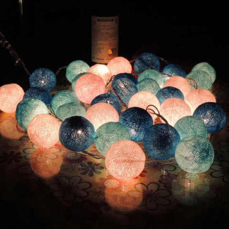 10 المصابيح القطن الكرة سلسلة ضوء الجنية ضوء داخلي الزفاف الديكور عطلة جارلاند حفلة عيد الميلاد بار غرفة نوم الاطفال ضوء