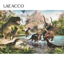Laeacco – décor de fête danniversaire, monde du jurassique, dinosaure, Safari, Jungle, animaux sauvages, arrière plan pour photographie