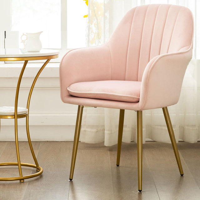 Nordic Ins Modern Casual Coffee Chair Wrought Iron Golden Chair Dining Chair Nail Salon Chair Makeup Net Red Chair 3