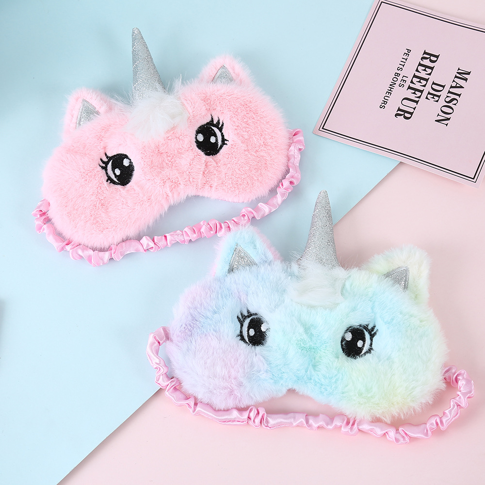 Cartoon 3D Soft Unicorn Eye Mask Variety New Sleeping Mask Plush Eye Shade Cover Eyeshade Relax Mask Travel Home Party Gifts