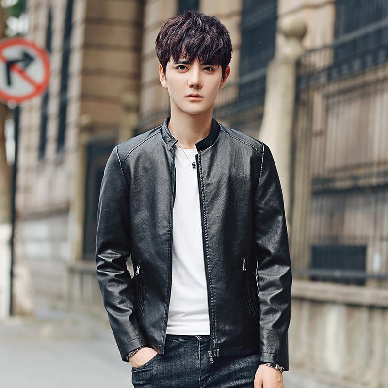 2018 Autumn Locomotive Leather Jacket Nightclub Slim Fit Men's PU Leather Coat Classic Style Minimalist Version Of The Short