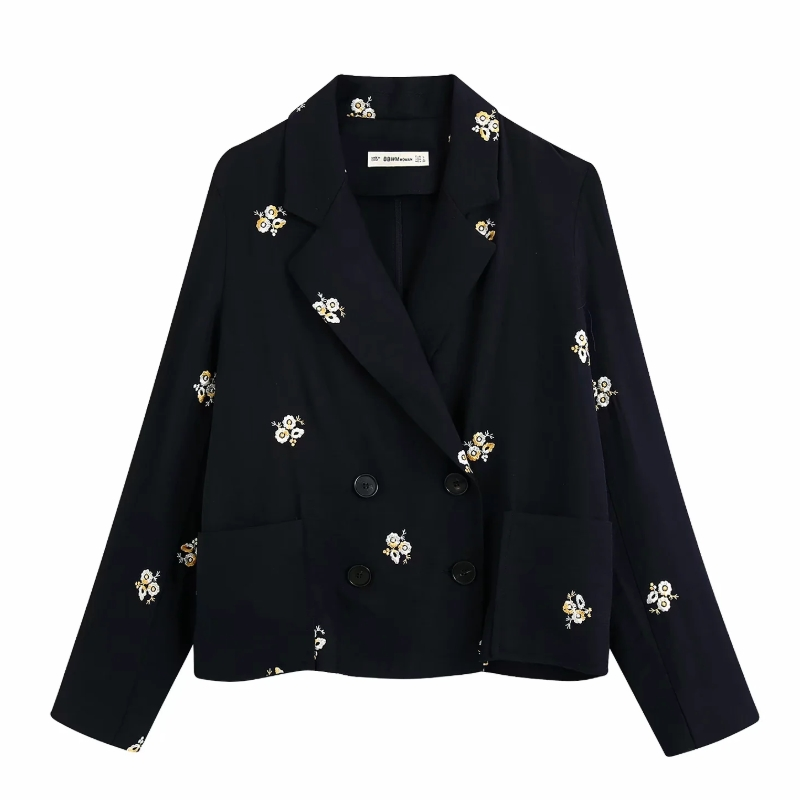 2020 Women Leisure Floral Embroidery Blazer Ladies Chic Long Sleeve Double Breasted Suits Causal Stylish Outwear Coat Tops