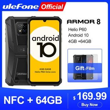 Купить Ulefone Armor 8 Android 10 Смартфоны NFC Helio P60 4 Гб + 64 Гб мобильный телефон Octa-core 2,4 г/5G Wi-Fi 6,1 ''Водонепроницаемый смартфон