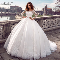 Alonlivn Lustrous Tulle Boat Neck Ball Gown Wedding Dresses Three Quarter Elegant Princess Bridal Gowns With Appliques Lace