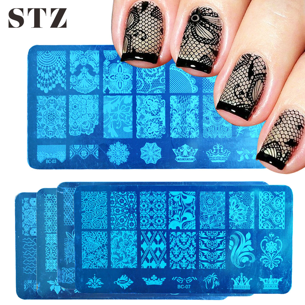 STZ 1pcs Nail Art Stamping Plate Template Lace Flower Leaf Butterfly Stencils Stamp For Nails Polish Mold Manicure Tools BC01-20