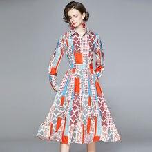 Zuoman женские осеннее элегантное строгое платье с принтом длинным