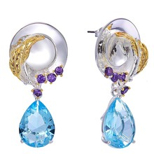 Original Delicat Earrings for girls Sky Blue Zirconia Women Ladies Hat Design Wedding fashion jewelry free shipping