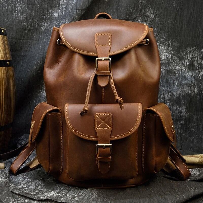 MAHEU Durable Men's Crazy Horse Leather Backpacks Vintage Genuine Leather Laptop Men Women Unisex Bapacks Cow Leather School Bag
