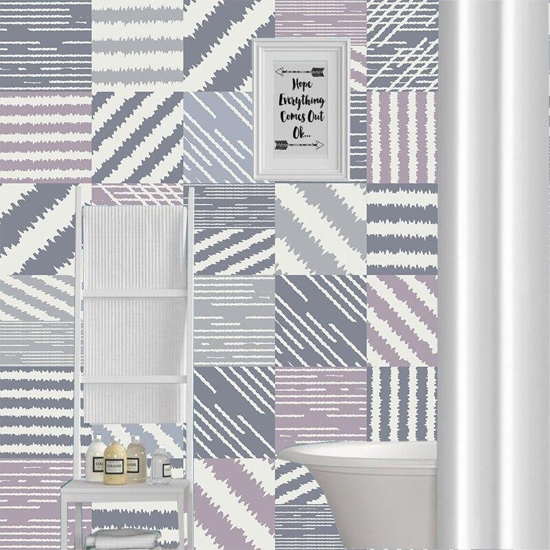 Carrelage autocollant mural, stickers muraux pour cuisine, salle de bains, stickers pour la maison, peau et bâton en céramique Mandala, papier d'art personnalisé gris et bleu