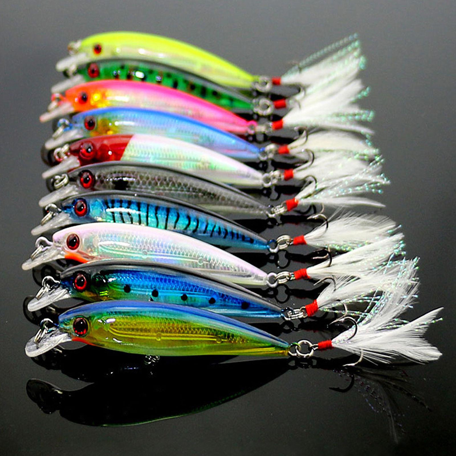 10pcs Fishing Lures Crankbaits Hook Minnow Baits Tackle Crank Fishing Kit in Fishing Lures from Sports Entertainment