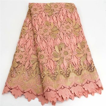 Peach Wedding/Party African Flower Embroidery Tulle Lace Textile French Net Lace Fabric GXN16(5Yards/Lot)