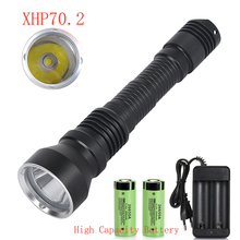 new Professional 6000 lumen XHP70.2 Scuba Diving Flashlight Submarine
