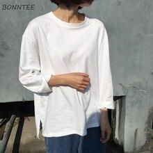 T-shirts Women Long Sleeve Solid Inside