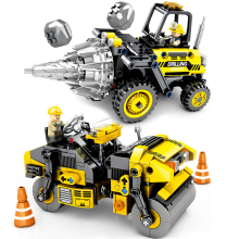 Fit  Technic Simulation City Engineering Drill Machine & Road Roller Set Educational Building Blocks Toys For Children